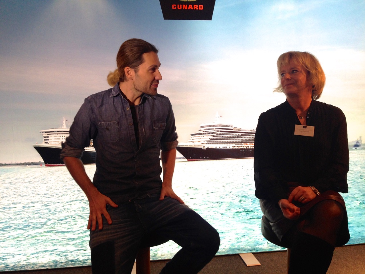 Star-Geiger David Garrett und Cunard Deutschland-Chefin Anja Tabarelli