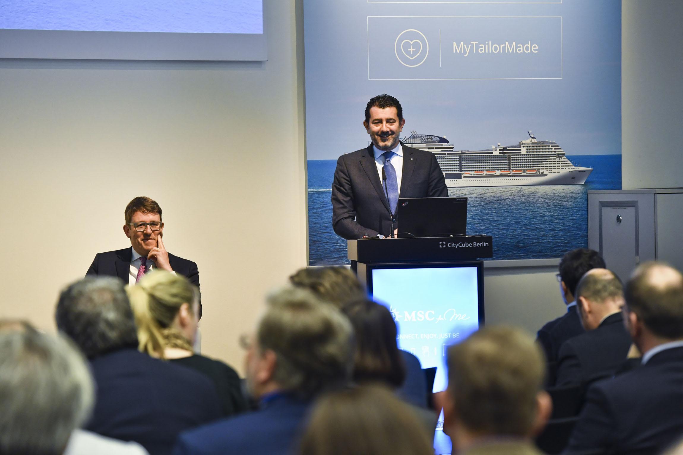 MSC-Chef Gianni Onorato bei der Pressekonferenz während der ITB in Berlin Foto: MSC Cruises