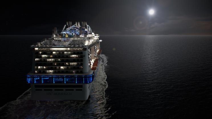 MSC Meraviglia bei Nacht Foto: MSC