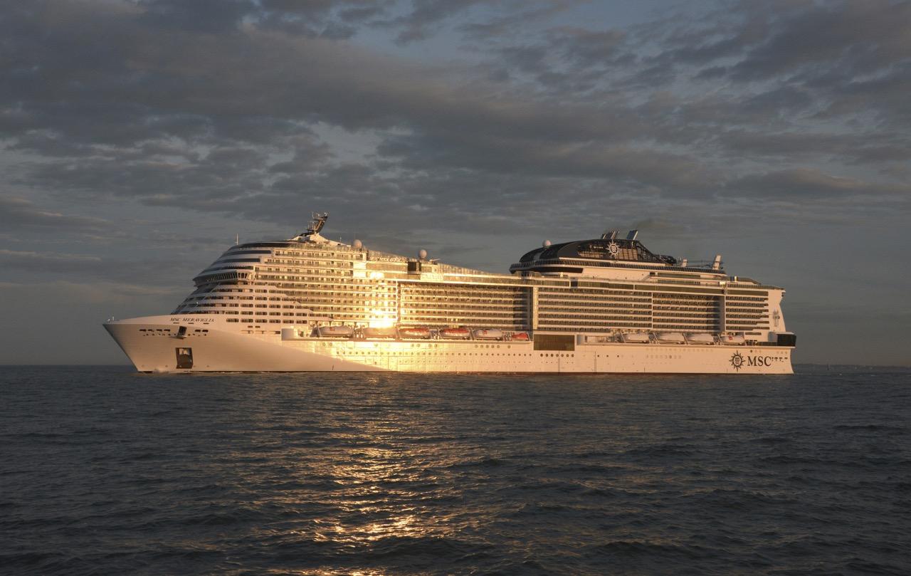 MSC MERAVIGLIA, das neue Flaggschiff von MSC Cruises, bei einem seiner erfolgreichen Testläufe. Foto: Bernard Biger STX France
